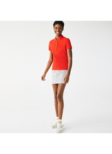Lacoste Kadın Slim Fit Tişört PF5462.F8M Kırmızı